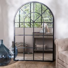 miroir indus en m tal l 180 cm cargo verri re salon. Black Bedroom Furniture Sets. Home Design Ideas