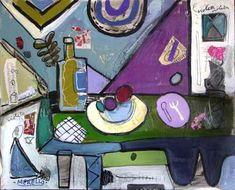 Arte Moderno, Merello, bodegón Kobalto y gris. Acrilico.