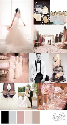 black white and blush glamour wedding