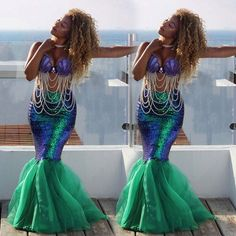 Sexy Mermaid Womens Halloween Costume Fancy Party Sequins Long Dress Tail Skirt #Unbranded #Skirt #Party