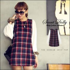 Buy 'Sweet Dolly � Chiffon-Sleeve Plaid A-Line Dress' with Free International Shipping at YesStyle.com. Browse and shop for thousands of Asian fashion items from Taiwan and more!