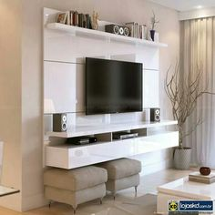 Create a stylish theatrical vibe for your room with this Manhattan Comfort City Floating Wall Theater Entertainment Center in Maple Cream and Off White. Home, Tv Wall Design, Entertainment Center, Floating Wall, Wall Entertainment Center, Room Decor, Living Room Tv Wall, Tv Cabinet Design, Living Room Designs