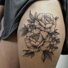 Peonies and cherry blossom for a nice tattoo #peony #peonytattoo #cherryblossom…