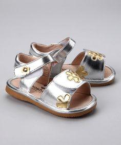 Mooshu Trainers Silver & Gold Poppy Squeaker Sandal by Mooshu Trainers & MadieJane