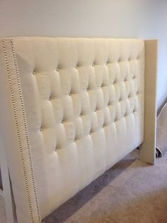 Master Bedroom- Want to do this for my master bedroom when I get some time to make it!  DIY Upholstered Headboard with Nailhead Detailed Arms