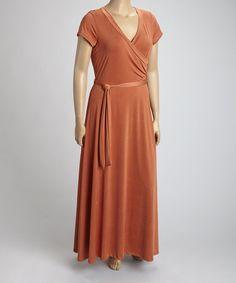This Orange Tie-Waist Maxi Dress - Plus is perfect! #zulilyfinds