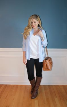 casual outfit, leggings, flat riding boots, chambray shirt, fall fashion