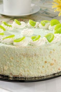 Easy Key Lime Cake with Lime Cream Cheese Frosting. Simple to make with lots of fresh lemon/lime flavor!