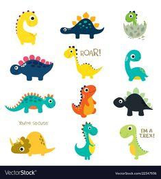 Set of little cute dinos. Vector illustration Set of little cute dinos set of little cute dinos - arte vetorial de stock e mais imagens de amarelo royalty-free Dinosaur Pattern, Cute Dinosaur, The Good Dinosaur, Dinosaur Images, Cartoon Dinosaur, Die Dinos Baby, Baby Dinosaurs, Dinosaur Printables, Dinosaur Birthday Party