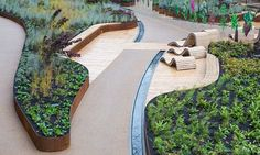 Commercial landscape edging, decking, planters, tiles and decking support systems. Innovative landscape edging and terrace systems. Traditional Landscape, Contemporary Landscape, Urban Landscape, Landscape Architecture Design, Landscape Architects, Raised Planter, Parking Design, Urban Furniture, Cool Landscapes