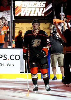 Shea Theodore #53 of the Anaheim Ducks is acknowledged after the game against the Ottawa Senators