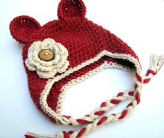 Crochet Hat, Baby Girl Hat, Girls Cotton Crochet Ear Flap Beanie Hat with Ears and Ties, Country Red and Ecru, MADE TO ORDER. $28.00, via Etsy.