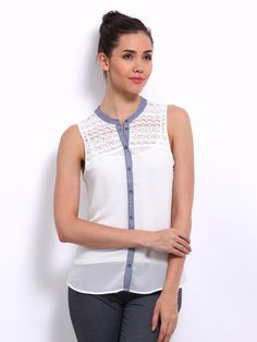 Buy ONLY Women White Sheer Lace Shirt - 320 - Apparel for Women from ONLY  at Rs. 678 0cc7166f8