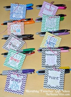 Student Gifts Discover Back To School Monthly Teacher Gift Idea {Includes Printable} Back To School Monthly Teacher Gift Idea using Sharpie and Inkjoy {Includes Printable} Employee Appreciation Gifts, Teacher Appreciation Week, Staff Gifts, Student Gifts, Volunteer Gifts, Teacher Morale, Staff Morale, Teacher Treats, Teacher Thank You Gifts