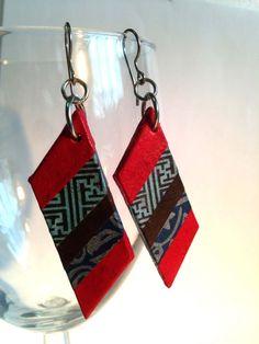 Striped Handmade Hanji Paper Dangle Earrings by HanjiNaty on Etsy, $12.00
