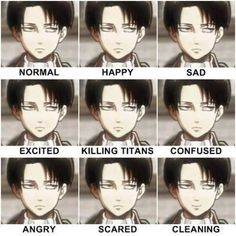 Attack on Titan: The many faces of Levi. :D