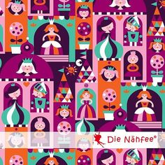 Jersey Princess Castle Organic cotton by DieNaehfeeDIY on Etsy, €9.96