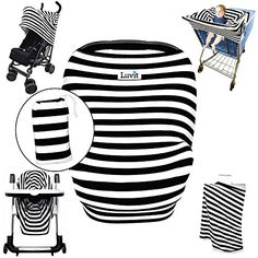 Stretchy Stripes 5in1 Baby Car Seat Canopy Stroller Canopy Shopping Cart Cover High Chair Cover and Nursing Cover AllInOne Universal Fit in Black and White Stripes by Luvit *** You can get more details by clicking on the image.