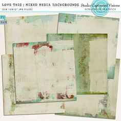 Love This Mixed Media Background Papers [digital scrapbook product] $5.99, painted