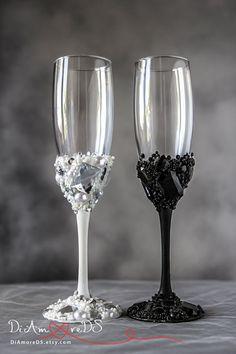 Boda tostado gafas blanco y negro strass cristales por DiAmoreDS