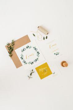 """Papeterie de Naissance par Monsieur Plus Madame / June and Jane - Modèle """"Eucalyptus"""" Coloris jaune moutarde - Disponible sur devis uniquement."""