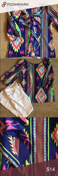 Neon Bowback Blouse 3/4 sleeve blouse. Beautiful bow in back. Tunic style. Looks great with jeans and boots. Size large runs true to size. Perfect for fall or spring. Off white jeans also available. Never been worn. Tops Blouses