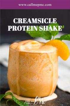 This Creamsicle Protein Shake recipe is a sweet orange julius smoothie drink that tastes like orange sherbet ice cream. Healthy, delicious. #healthy #smoothie #milkshake #proteinshake #drink Protein Shake Recipes, Easy Smoothie Recipes, Good Smoothies, Protein Shakes, Nutritious Smoothies, Juice Recipes, Drink Recipes, Easy Recipes, Healthy Recipes