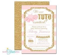 Tutu Baby Shower Invitations - Girls Baby Shower Invitations - Ballerina Baby Shower Invitations - Glitter Baby Shower Invite - Tutu Invite
