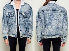 Levis Denim Jacket ACID WASH Denim Shearling Jacket by ShopExile