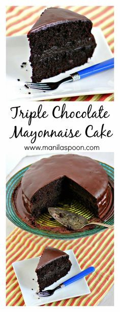Triple Chocolate Mayonnaise Cake - The secret ingredient that makes this cake so moist is Mayonnaise! Add 3 kinds of chocolate and it's chocolate indulgence at its highest. Baking Recipes, Cake Recipes, Dessert Recipes, Just Desserts, Delicious Desserts, Chocolate Mayonnaise Cake, Mayonaise Cake, Gateaux Cake, Chocolate Desserts