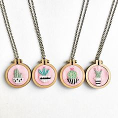 Green and pink Cactus Plants on Pink jewelry cactus embroidery embroidered jewelry cactus art Gifts under 50 succulent necklace cute pendant Cactus Embroidery, My Sister Birthday, Wooden Hoop, Necklace Display, Anniversary Jewelry, Cactus Plants, Cactus Art, Gifts For Your Mom, Valentines Jewelry