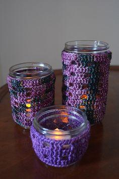 Crochet Patterns Galore - Windows of Light Jar Covers