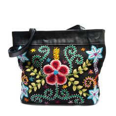 Black Embroidered Handbag: $90