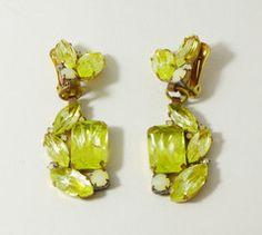 Vaseline Uranium Czech Glass Clip Earrings - Vintage Lane Jewelry - 1