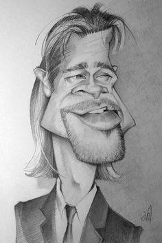 Caricatura del actor de Hollywood, Brad Pitt, realizada por el artista Abel Joachim Crayon.     Brad...