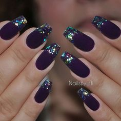 Purple with multicolor flakes