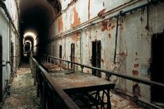 Eastern State Penitentiary - Food carts ran on tracks in the cellblocks. Prisoners ate in their cells. Solitary Confinement.