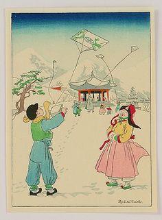 Elizabeth Keith 1887-1956 - Flying Kite - Korea