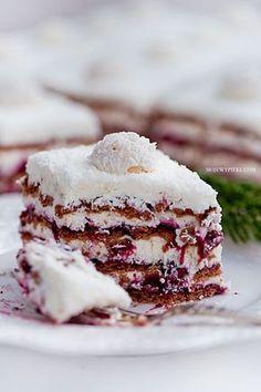 Coconut Cream & Blackcurrant Zebra No-Bake Cake No Bake Desserts, Just Desserts, Delicious Desserts, Dessert Recipes, Cupcake Cakes, Cupcakes, Polish Recipes, Dessert Bread, How Sweet Eats