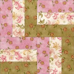 This easy to sew precut rail fence quilt block kit features really beautiful pink, green and cream floral prints. These are lovely fabrics by Red Rooster Fabrics. Make a nice blanket, throw, wall hang