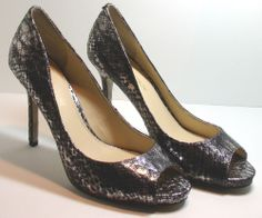 Enzo Angiolini Maiven Open Toe Pump Shoes, Pewter Gray, Snake, Size 7 Medium #EnzoAngiolini #PumpsClassics  http://stores.ebay.com/ECLECTIC-GOODIES-EG