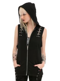 Sleeveless black hoodie with silver tone grommet, safety pin and D-ring detailing. Zip closure.