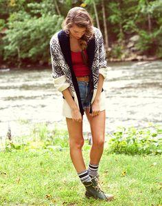 shawl cardigan, boots