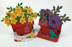 Small Flower Pot easel cards by Bronwyn Eastley