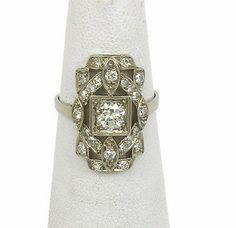 ART DECO 1920's PLATINUM & DIAMONDS FILLIGREE DRESS RING