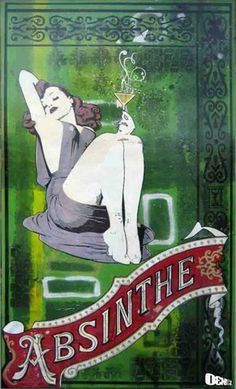 """""""Absinthe"""" by Daniel Bombardier. Mixed Media on Wood Panel. Band Posters, Wood Paneling, Painting On Wood, Graphic Art, Stencils, Street Art, Mixed Media, Aurora Sleeping Beauty, Presents"""