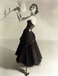 Evelyn Tripp in a Charles James evening dress, photo by Horst P. Horst; 1950s