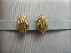 NWOT Gold Plated Clip On Earrings Brilliant Brushed Finish Comfort Pads Unique