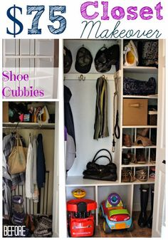 DIY $75 hall closet makeover, great ideas for organizing