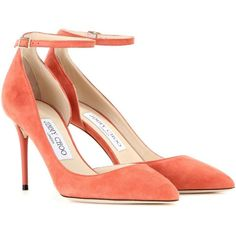 Jimmy Choo Lucy 85 Suede Pumps ($590) ❤ liked on Polyvore featuring shoes, pumps, orange, orange suede pumps, jimmy choo, jimmy choo shoes, suede pumps and jimmy choo pumps
